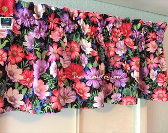 """Cosmos Flowers Pinks Purples Greens Old Fashioned Garden Floral Curtain 14"""" x 41"""" Bedroom, Kitchen Curtain Free Ship Option Idaho Gallery"""