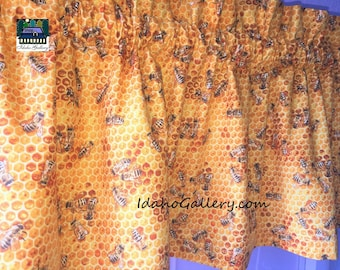 """Bee Valance Golden Honeycomb and Honey Bee Curtain 11"""" x 42"""" Bee Collectors Bee Lovers Kitchen Curtain Save the Bees Support the Bees"""