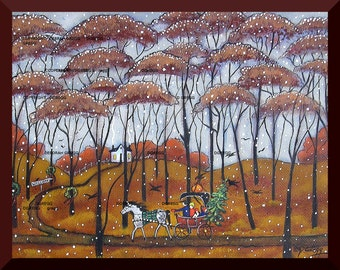 A Tree For Grandma, a small Country Christmas Snow Horse and Buggy PRINT by Deborah Gregg