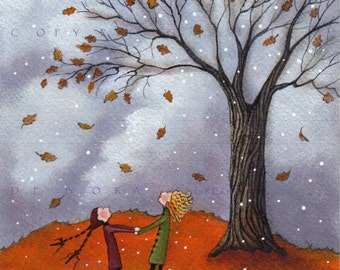 Sisters  a Fall Leaves Autumn Oak Tree Snow Small PRINT from the orignal by Deborah Gregg