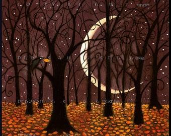 The Last Leaf, a Fall Autumn Crow Woods Crescent Moon Print by Deborah Gregg