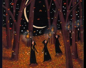 I'm Gonna Let It Shine, a small Autumn Fall Leaves Gourd Lantern PRINT by Deborah Gregg