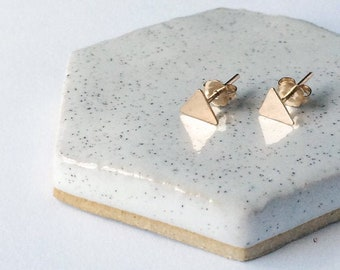 Hammered Triangle Stud Earrings / Dainty Jewelry / Sterling Silver or 14k Gold Filled / Modern / Minimal / Gifts for Her