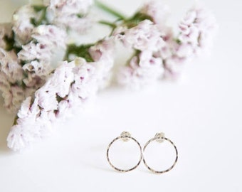Open Circle Stud Earrings / Sterling Silver or 14k Gold Filled / Hammered / Dainty Jewelry / Minimalist / Infinity / Gifts for Her