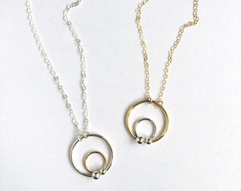 Circle Dot Necklace / Dainty Jewelry / Mixed Metal / Sterling Silver or 14k Gold Filled / Geometric / Minimalist / Gifts for Her