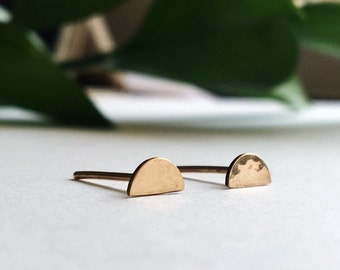 Hammered Half Circle Stud Earrings / Dainty Jewelry / Sterling Silver or 14k Gold Filled / Modern / Minimal / Gifts for Her / Crescent Moon