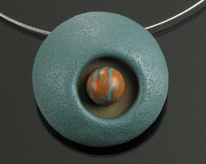 Avant Garde Circle Necklace, Unique Green Orange Modern Pendant, Handmade Abstract Art Jewelry Gift for Women, Wife, Girlfriend