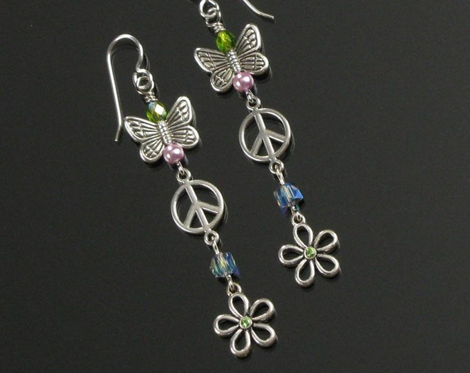 Whimsical Butterfly Earrings, Silver Peace Sign Dangle, Unique Long Flower Earrings, Handmade Birthday Gift for Mom, Girlfriend