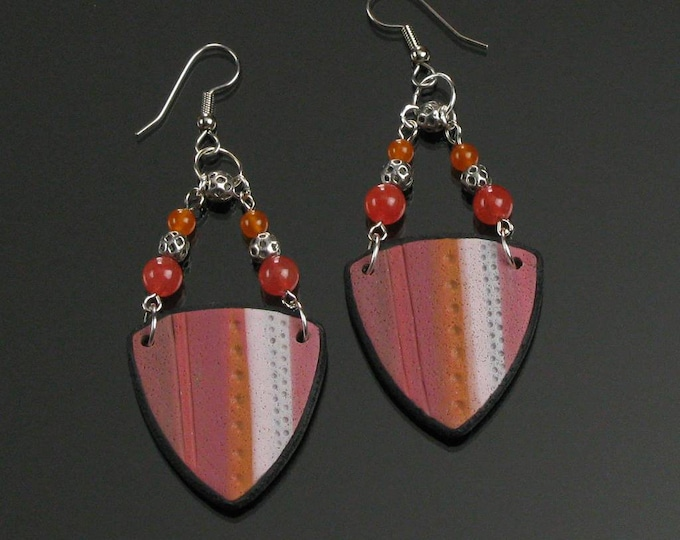 Large Abstract Art Earrings, Long Lightweight Pink Orange Modern Art Jewelry, Handmade Unique Gift for Women, Friend, Mother's Day Gift