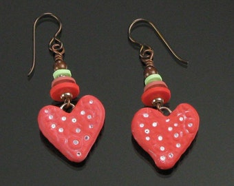 Red Heart Earrings, Unique Heart Dangle, Handmade Jewelry, Birthday Gift for Women, Gift for Girlfriend