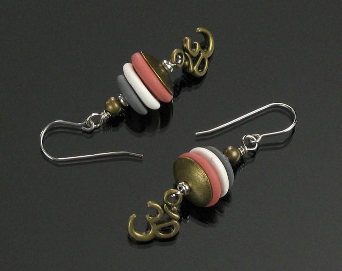 Om Symbol Brass & Silver Earrings, Unique Aum Charm Dangle, Spiritual Jewelry, Yoga Earrings, Buddhist Gift for Her, Friend, Girlfriend