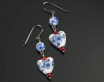 Asian Heart Earrings, Unique Blue & White Ceramic Heart Dangle, Handmade Mother's Day Gift for Girlfriend, Wife, Sister