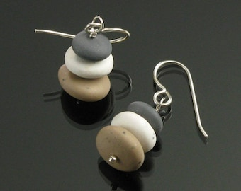 Zen Pebble Earrings, Zen Silver Earrings Cairn Rock Earrings, Yoga Jewelry, Unique Earrings Gift, Women's Gift, Zen Jewelry Gift for Women