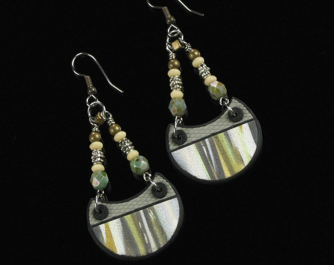 Tribal Statement Earrings, Lightweight Boho Earrings, Unique Rustic Tribal Jewelry, Handmade Birthday Gift for Her, Women, Wife, Mom Gift