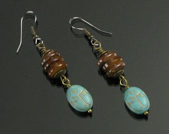 Egyptian Scarab Earrings, Tribal Earrings, Egyptian Long Dangle Earrings, Rustic Jewelry, Unique Handmade Boho Gift for Women