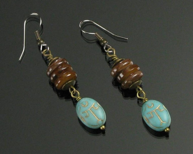 Egyptian Scarab Earrings, Tribal Earrings, Egyptian Long Dangle Earrings, Rustic Jewelry, Unique Handmade Boho Gift for Women