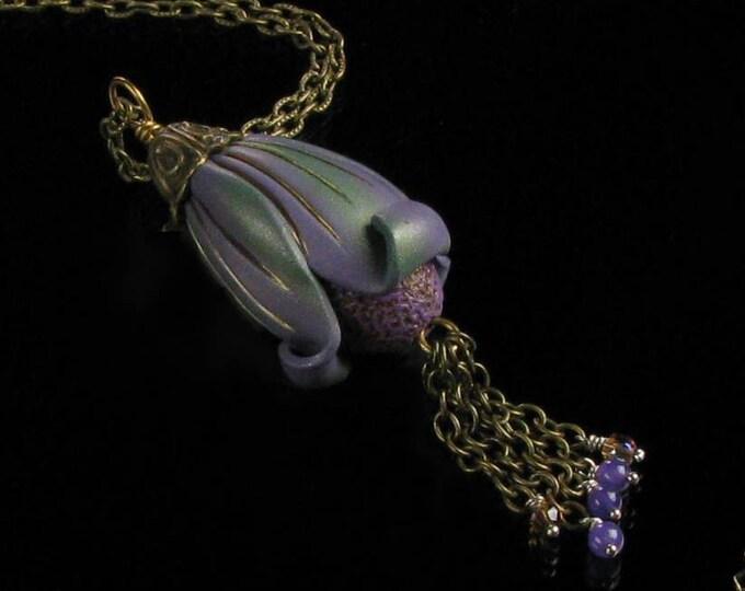 Art Deco Necklace, Statement Necklace, Unique Pod Necklace Gift, Brass Necklace, Nature, Art Deco Jewelry, Unique Handmade Gift for Women