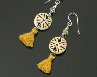 Unique Tribal Earrings, Ethnic Earrings, Boho Silver Earrings, Gold Tassel Earrings, Unique African Jewelry Gift for Women, Friend, Mom Gift