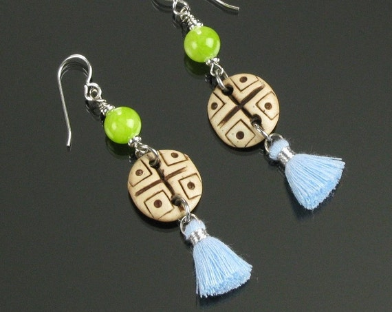 Ethnic Earrings, Boho Earrings, Tribal Earrings, Boho Dangle Silver Tassel Earrings, Blue Tassel Jewelry, Unique Boho Jewelry Gift for Women