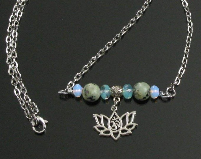 Beaded Bar Necklace with Lotus Om Dangle, Stainless Steel Silver Yoga Necklace, Unique Spiritual Gift for Women, Friend, Mothers Day Gift