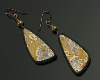 Rustic Triangle Earrings, Unique Tribal Dangle Earrings, Rustic Mokume Gane Niobium Earrings, Tribal Art Jewelry, Unique Boho Gift for Her