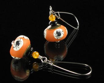 Black Spider Earrings, Unique Orange Black Earrings, Halloween Earrings, Spider Jewelry, Halloween Jewelry, Silver Insect Earrings Gift