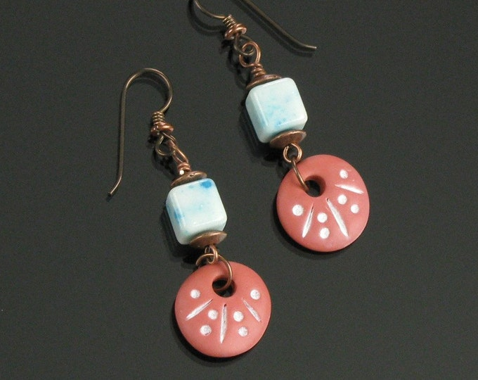Rustic Terracotta Earrings, Earthy Copper Dangle Earrings, Blue Agate Earrings, Earthy Tribal Earrings, Unique Gift Women, Niobium Earrings