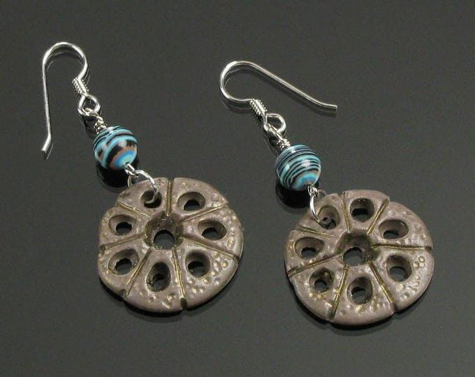 Rustic Boho Earrings, Unique Primitive Dangle, Turquoise & Brown Clay Tribal Earrings, Earthy Art Jewelry, Unique Boho Gift for Her