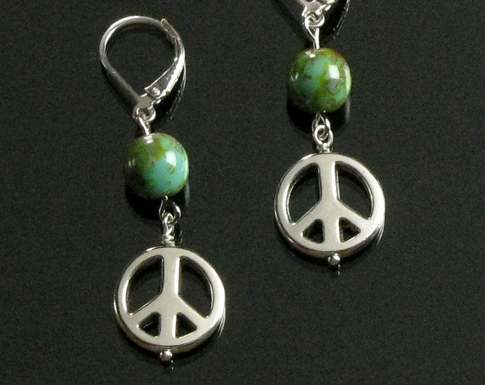 Peace Sign Silver Boho Earrings, Peace Sign Dangle, Silver Leverback Earrings, Sixties Hippie Jewelry, Womens Gift, Valentine Gift for Her