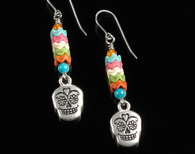 Sugar Skull Earrings, Colorful Earrings, Dia de los Muertos Dangle Earrings, Colorful Skull Jewelry, Day of the Dead Unique Gift for Teen