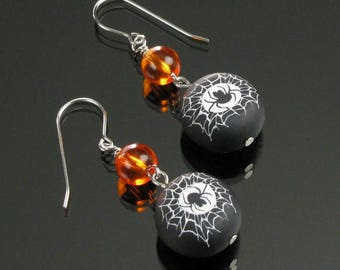 Spiderweb Earrings, Halloween Spider Earrings, Spider Jewelry, Unique Halloween Jewelry, Orange Black Insect Earrings, Gift for Her, Woman