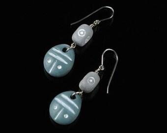 African Earrings, Blue & Gray Tribal Earrings, African Jewelry, Ethnic Earrings, Unique Tribal Jewelry, Silver Earrings, Valentine Gift