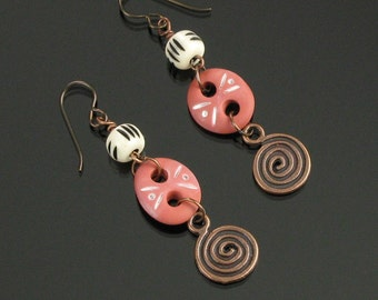 Terracotta Tribal Earrings, Rustic Dangle Earrings with Copper Spiral, Unique Gift for Women, Long Lightweight Earthy Niobium Earrings