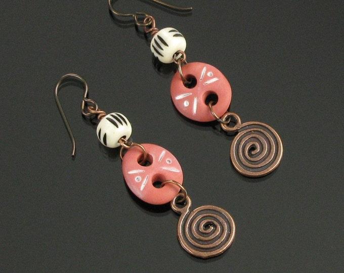 Terracotta Tribal Earrings, Rustic Dangle Earrings with Copper Spiral, Unique Gift for Women, Long Lightweight Earthy Niobium Earrings