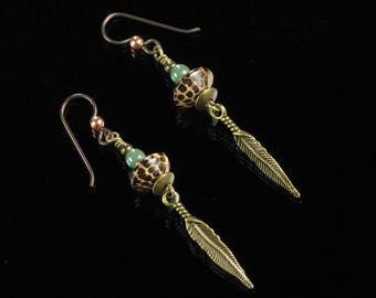Long Brass Feather Earrings, Unique Boho Gift Jewelry, Rustic Tribal Earrings, Unisex Jewelry Birthday Gift