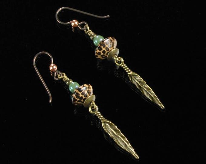 Long Brass Feather Earrings, Unique Boho Gift Jewelry, Rustic Tribal Earrings, Unisex Jewelry Gift