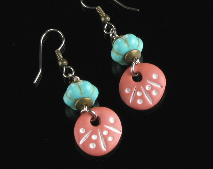 Terracotta Drop Earrings, Ethnic Earrings, Tribal Earrings, African Earrings, Rustic Earrings, Unique Blue Boho Earrings Gift for Women
