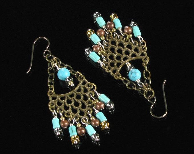 Gypsy Chandelier Earrings, Brass Hippie Earrings Boho Jewelry, Long Dangle Earrings, Niobium Boho Earrings, Bohemian Jewelry Gift for Women