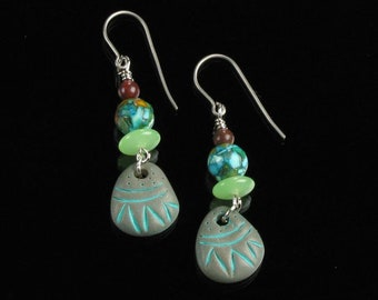 African Dangle Titanium Earrings, Rustic Tribal Earrings, Boho Earrings, Blue Green Ethnic Jewelry, Unique Christmas Gift for Women, Mom