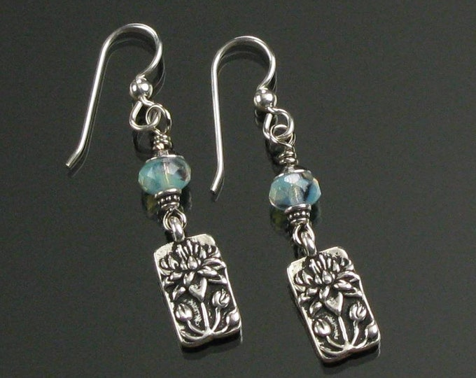 Lotus Earrings, Everyday Silver Earrings, Aqua Silver Mindful Jewelry, Buddhist Gift, Unique Flower Earrings Jewelry Gift, Women's Gift