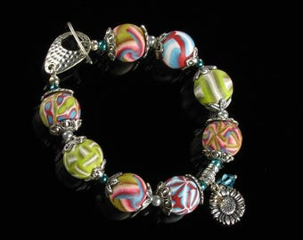 Colorful Bracelet, Unique Polymer Clay Silver Bracelet, Sunflower Bracelet, Art Jewelry Gift for Her, Women, Mom, Unique Gift for Girlfriend