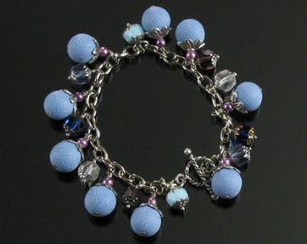 Boho Cha Cha Bracelet, Clay Bead Unique Charm Bracelet, Blue & Purple Boho Bracelet, Art Jewelry, Unique Gift for Women, Girlfriend Gift