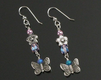 Silver Butterfly Earrings, Flower Dangle, Unique Floral Spring Earrings, Handmade Birthday Gift for Mom, Girlfriend, Mothers Day Gift