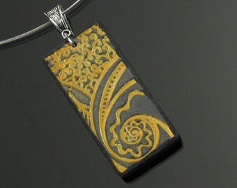 Gold & Black Art Deco Necklace, Unique Modern Pendant, Handmade Art Jewelry Gift for Her