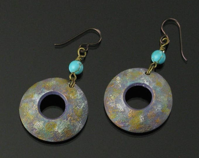 Domed Circle Earrings, Unique Handmade Earrings, Rustic Niobium Earrings, Astronomy, Science Art Jewelry, Unique Earring Gift for Women, Mom