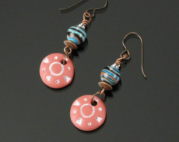 Ethnic Terracotta Earrings, Unique Rustic Boho Dangle, Tribal Earrings Christmas Gift for Women, Niobium Earrings, African Earrings