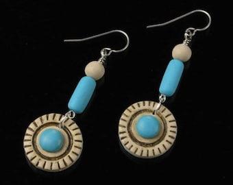 Handmade Ethnic Earrings, African Dangle Silver Earrings, Blue Beige Tribal Earrings, Boho Earthy Art Jewelry, Unique Valentine Gift for Her