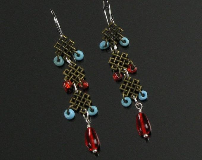 Endless Knot Silver Earrings, Unique Long Brass Earrings, Symbolic Buddhist Earrings, Yoga Jewelry, Spiritual Jewelry Gift for Women, Friend