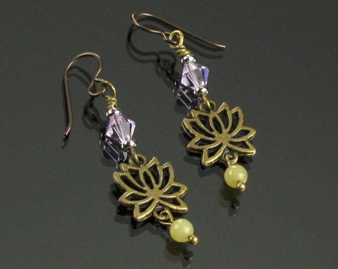 Lotus Earrings, Brass Yoga Jewelry, Dangle Earrings, Lotus Brass Boho Earrings, Niobium Earrings, Unique Spiritual Jewelry Buddhist Gift