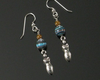 Earth Goddess Earrings, Boho Earrings, Unique Stone and Silver Dangle, Feminist Jewelry, Unique Gift for Women, Birthday Gift for Friend